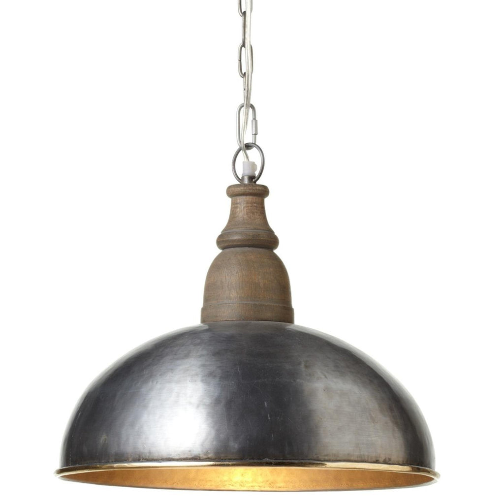 Metal and Wood Hanging Pendant Lamp with Gold Rim - 15-in