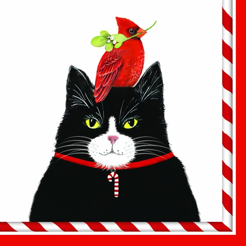 Mary Lake Thompson Cat And Cardinal Design Beverage Cocktail Napkins - 20 Count