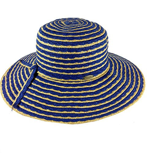Cappelli Straworld Wide Brim Straw Sun Hat with UPF 50+ Sun Protection (Navy) - Mellow Monkey