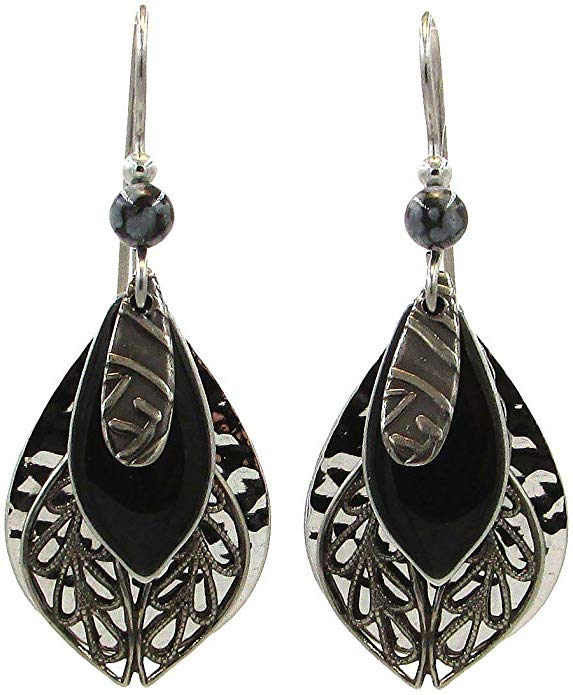 Silver Forest Black Enamel Four Layer Teardrop Earrings
