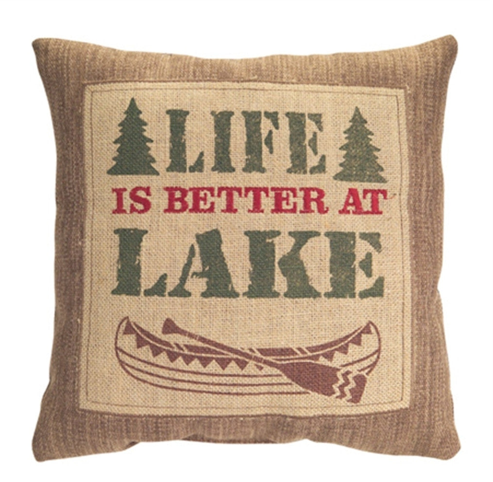 Life Is Better At The Lake - Country Lodge Collection Embroidered Burlap Pillow - 13-1/2-in Square - Mellow Monkey