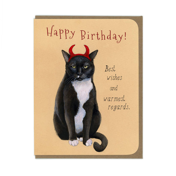Devil Cat Birthday Greeting Card