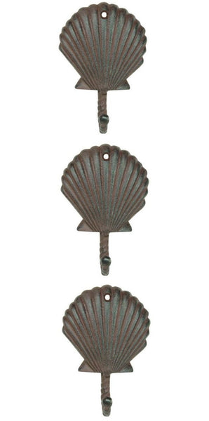 Scallop Shell Wall Hooks Cast Iron Antique Brown - Set of 3 for Coats, Aprons, Hats, Towels, Pot Holders, More - Mellow Monkey  - 1