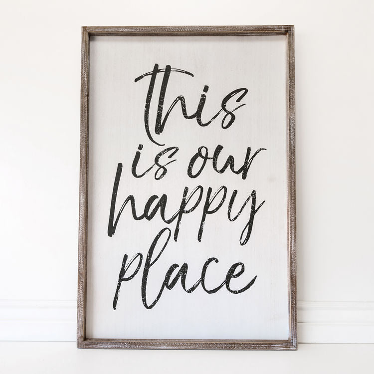This Is Our Happy Place - Framed Wood Wall Decor - 36-in