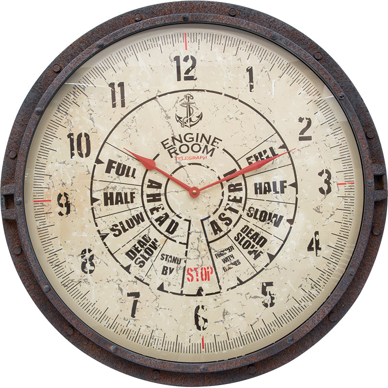 Ship Engine Wall Clock with Rustic Metal Case - 27-in