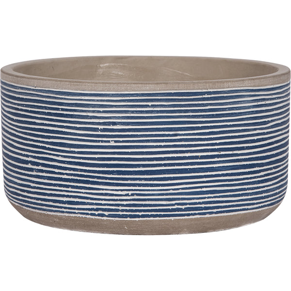 Cement Fruit Bowl with De-bossed Blue and White Striped Print - 7-1/8-in