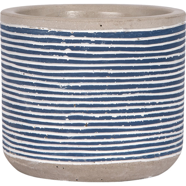 Cement Flower Pot Holder with De-bossed Blue and White Striped Print - 4-1/8-in
