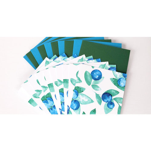 Blueberry Paradise Illustrated Assorted Greeting Card Boxed Set - 10 Cards