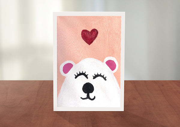 Bear with Heart Greeting Card