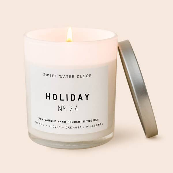 Holiday Soy Candle - White Jar Candle