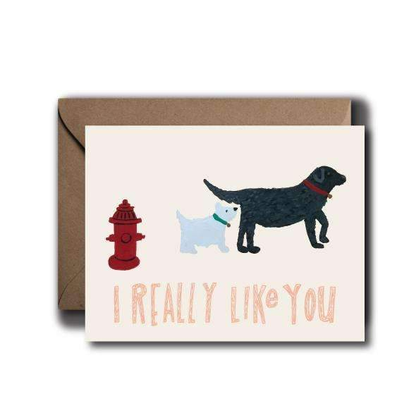 I Really Like You - Dog Sniff Greeting Card