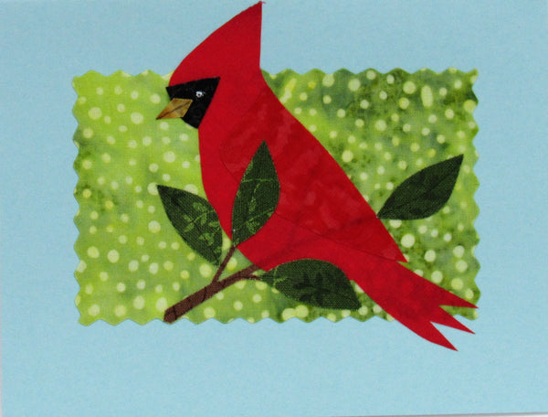 Cardinal - Hand Made Fabric and Paper Greeting Card