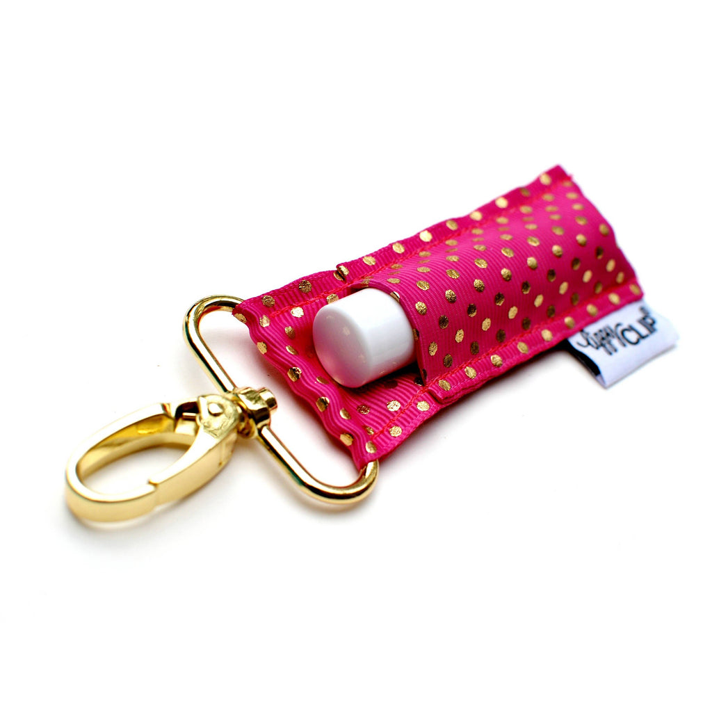 Hot Pink Gold Dots LippyClip Lip Balm Holder