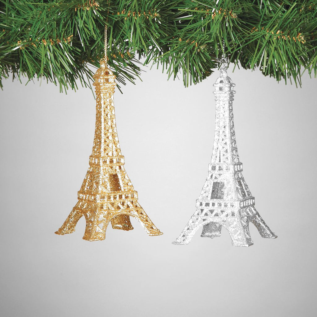 Set of 2 Gold and Silver Sparkling Eiffel Tower Ornaments - 6-in - Mellow Monkey