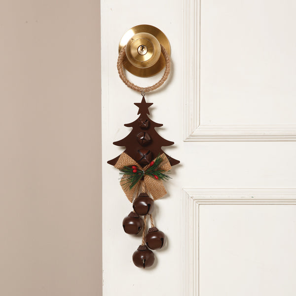 Holiday Door Knob Hanger with 4 Jingle Bells, Jute Bow and Evergreen - 14-in - Mellow Monkey  - 1
