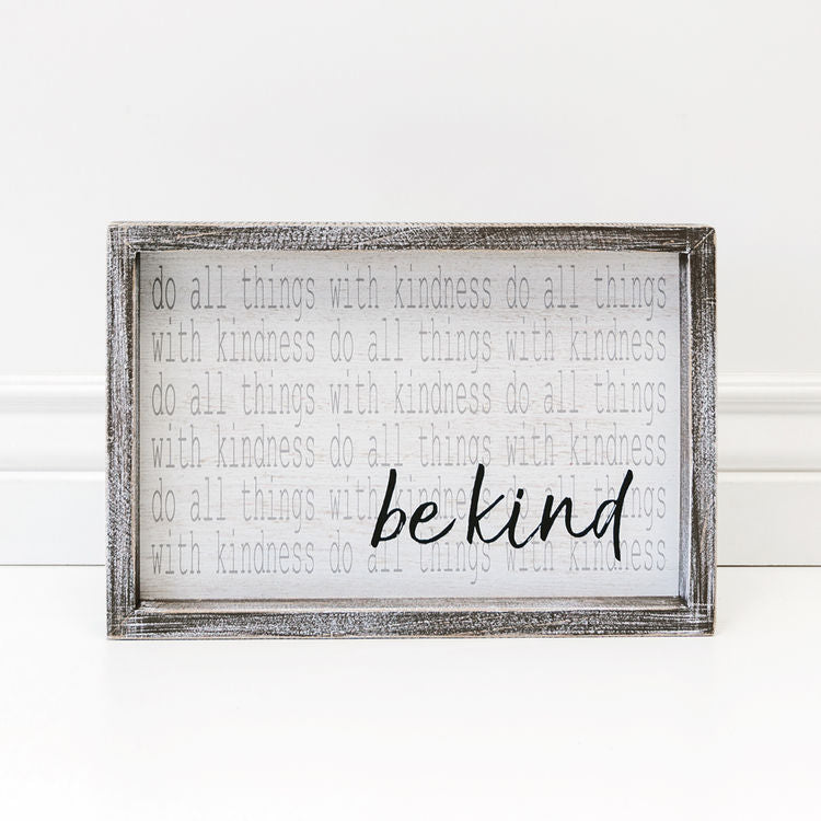 Be Kind  - Framed Wood Wall Decor - 12-in