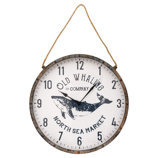 Old Whaling Company - North Sea Market - Large Wall Clock with Hanging Rope - 22-1/2-in