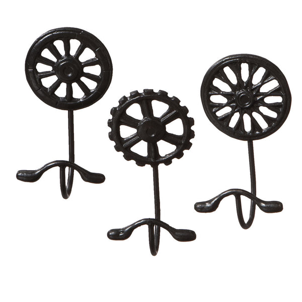 Cast Iron Bicycle Gear Wheel Wall Hooks - Set of 3