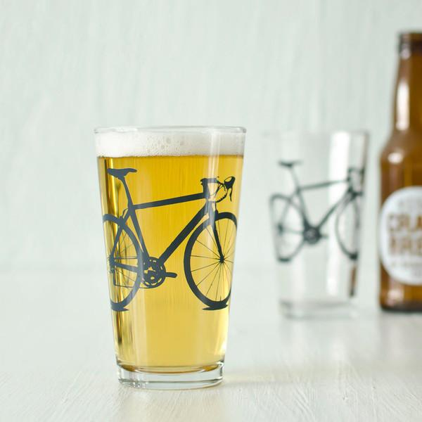 Bicycle Pint Glass - Charcoal Print