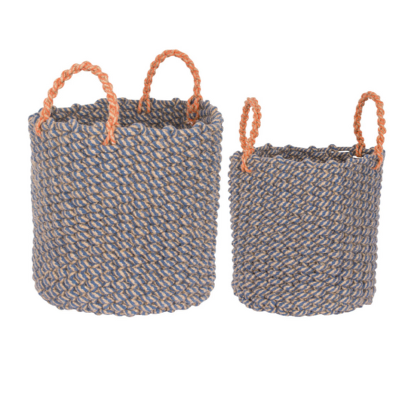 Nautical Rope Woven Basket with Blue and Orange - 2 Sizes