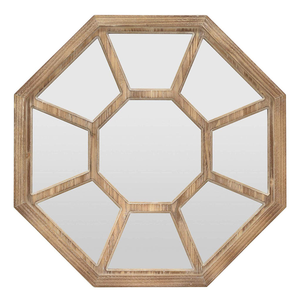 Octagon Wood Wall Mirror - 32-in