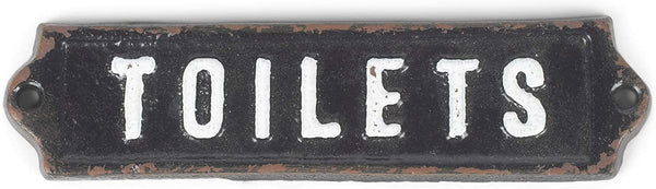 Vintage Cast Iron Toilet Sign - 6-in