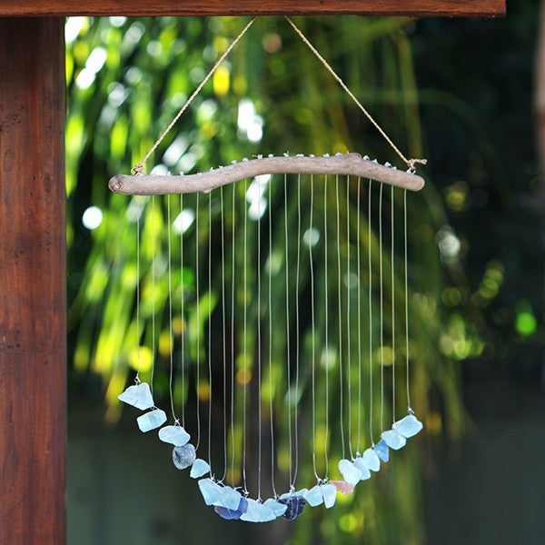 Raindrop Shower Sea Glass Stone Mobile