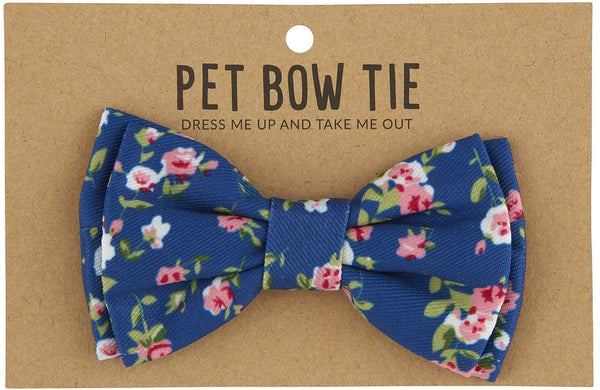 Adjustable Pet Bow Tie - Blue Floral
