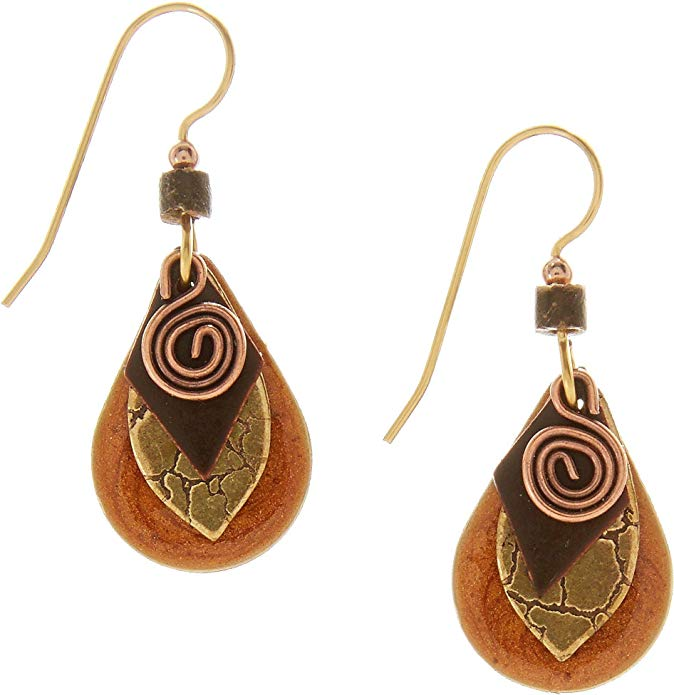 Silver Forest Textured Overlay Teardrop Earrings Gold Brown