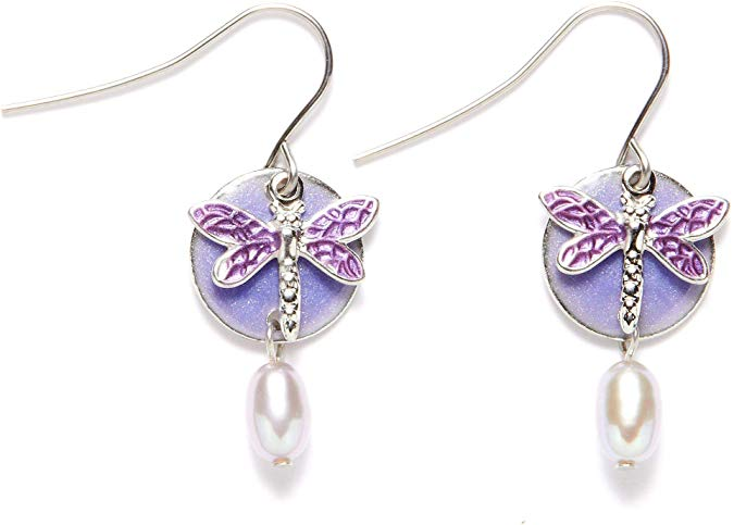 Silver Forest Purple Dragonfly Layered Dangle Earrings