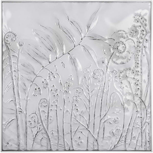 Square Embossed Metal Wall Decor with Flowers - Distressed White - 36-1/4-in