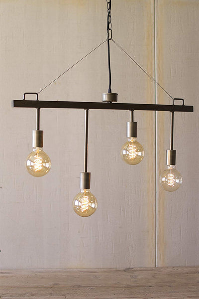 Industrial Style Raw Metal and Brass Pendant with Four Light Sockets - 30-in