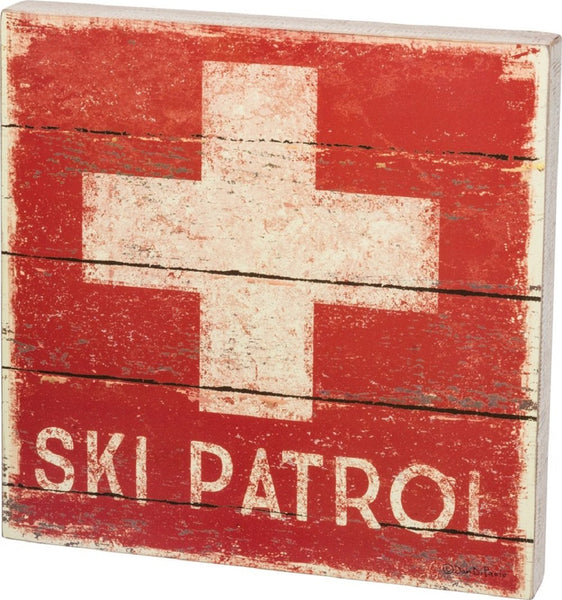 Ski Patrol with Cross Box Sign - 14-in