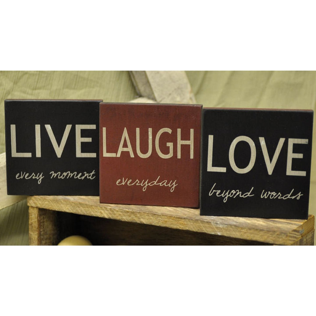 Live, Love, Laugh - Square Desk Sign Set of 3 - Mellow Monkey