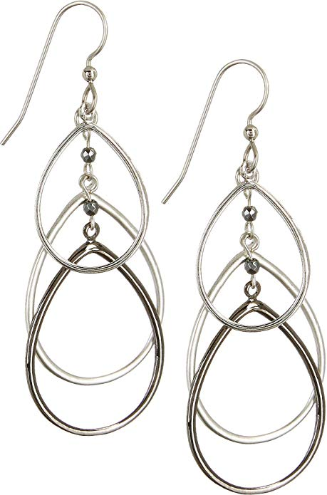 Silver Forest Triple Cutout Teardrop Layers Dangle Earrings