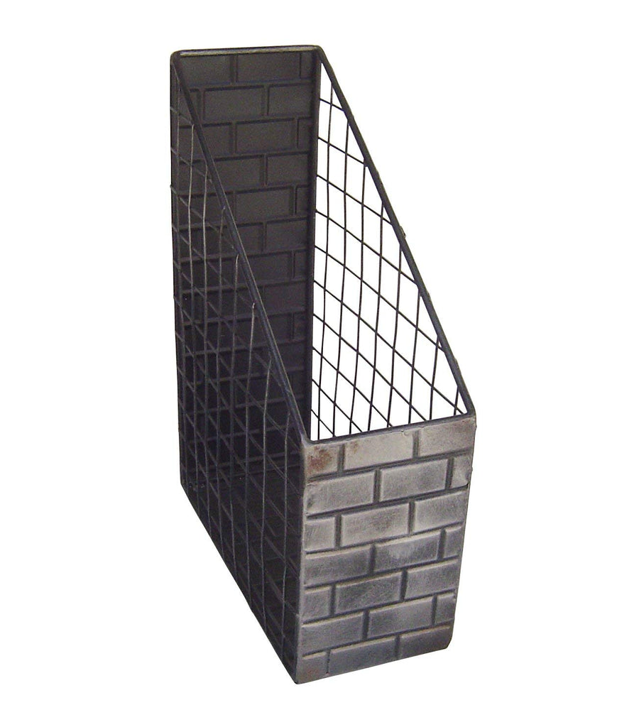 Industrial Metal Brick Desk Magazine Organizer