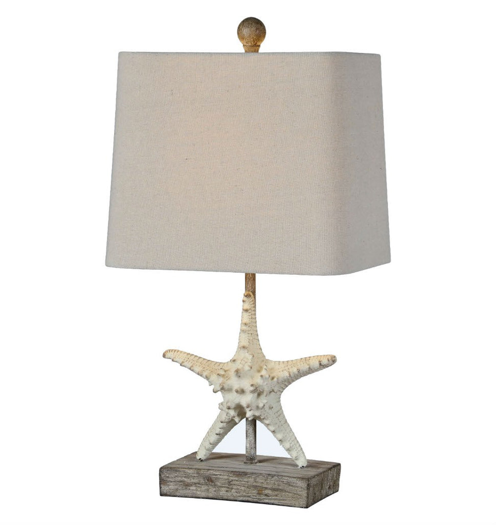 Coastal Side Table Lamp with Starfish | 19-1/2-in