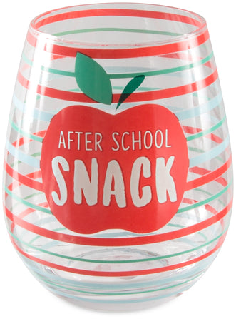 After School Snack -Crystal Stemless Wine Glass - 17 oz.
