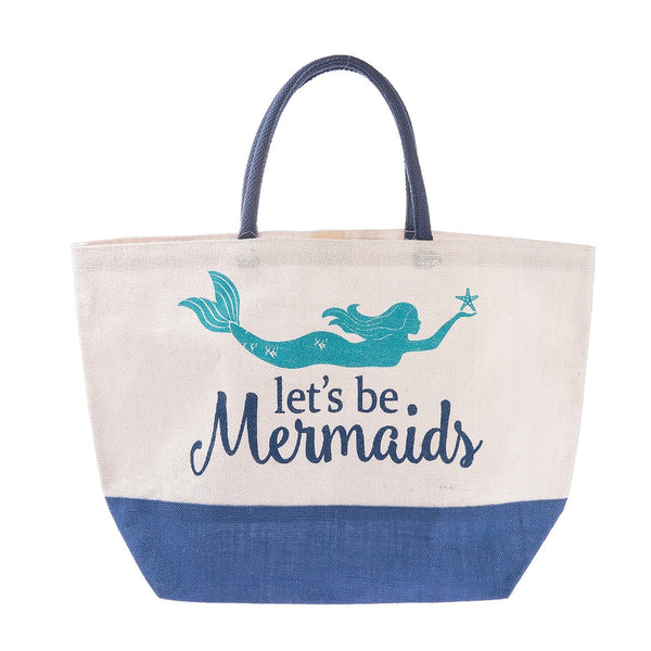 Let's Be Mermaids Color Block Sea Amy Jute Burlap Beach Tote Bag 22-in