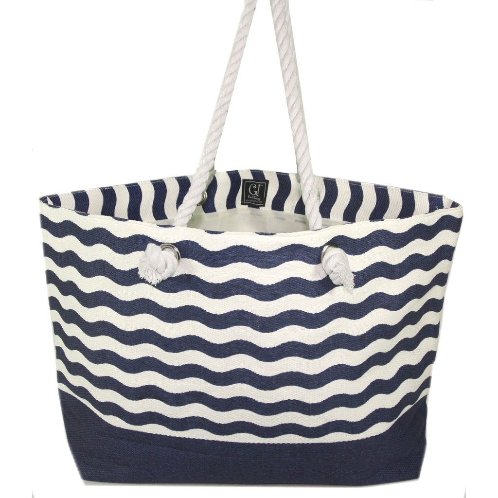 Wave Sophie Tote Bag - 23-in (Navy Blue) - Mellow Monkey