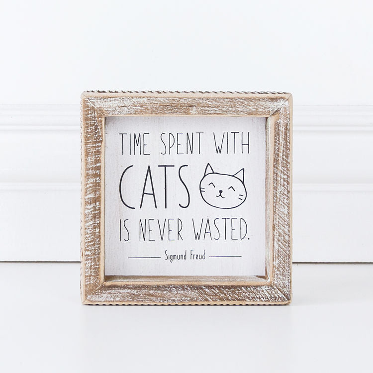 Time Spent With Cats Is Never Wasted - Sigmund Freud - Framed Wood Wall Decor - 5-in