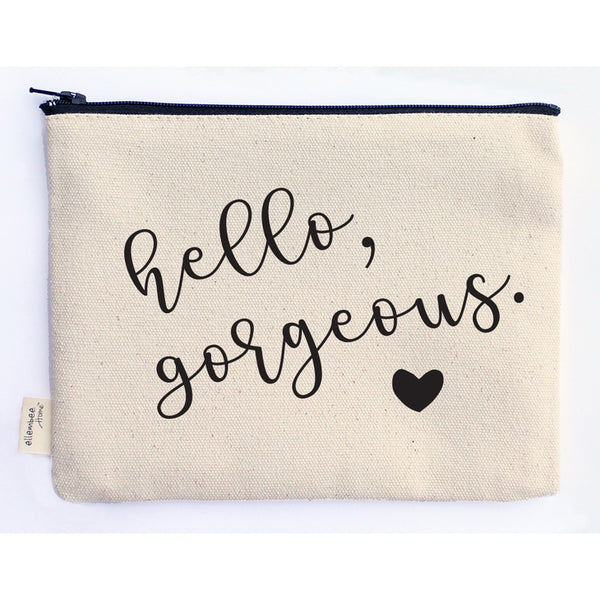 Hello Gorgeous with Heart - Canvas Zipper Pouch