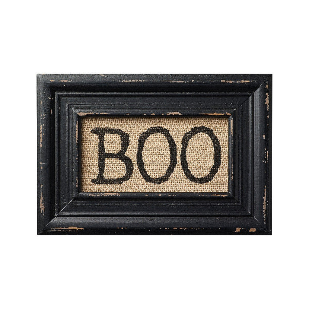 BOO! Printed Burlap Framed Wall Decor - Halloween - Mellow Monkey