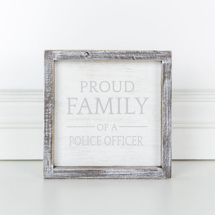Proud Family Of A Police Officer - Framed Wood Wall Decor - 7-in