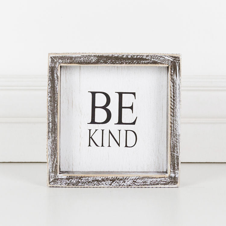 Be Kind - Framed Wood Wall Decor - 6-in