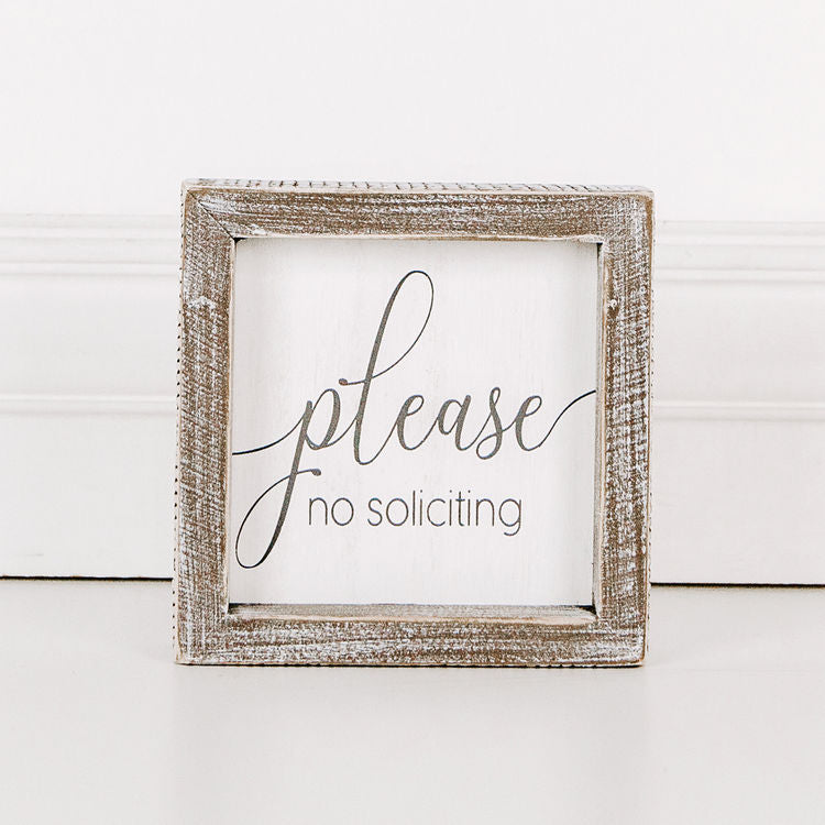 Please, No Soliciting - Framed Wood Wall Decor - 5-in