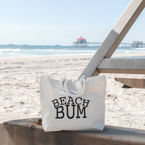 Beach Bum Cotton Canvas Rope Beach Bag - 17-in