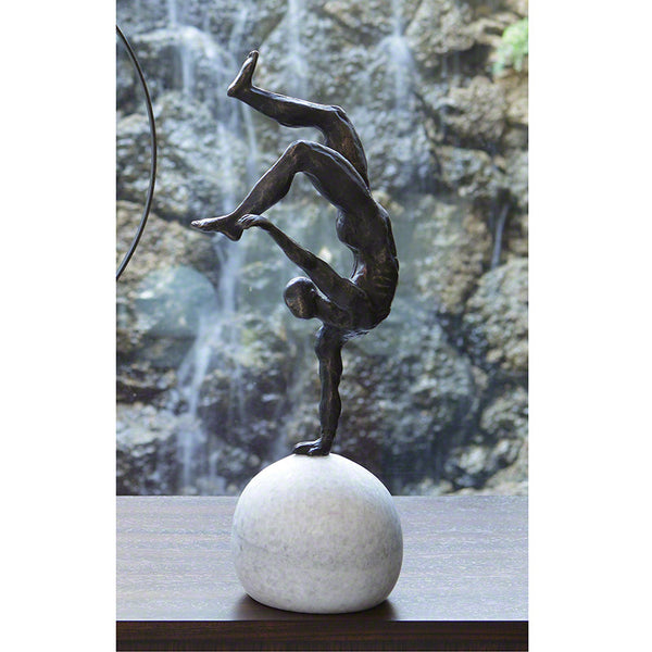 One Hand Balancing Act Gymnast In Motion Table Sculpture