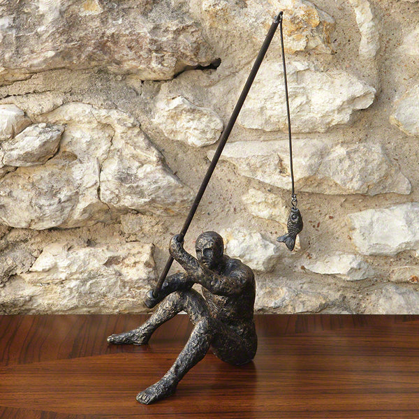 Reel It In - Bronze Cast Iron Table Sculpture