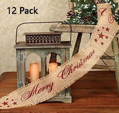 Vintage Merry Christmas Star Burlap Ribbon - 10-ft (Burgundy Print) Multi-Packs - Mellow Monkey  - 4